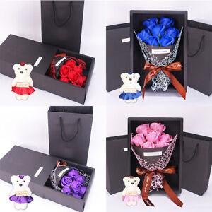 Sapone Artificiali Rose Bouquet di fiori 1 Orso compleanno festa della mamma regalo di nozze