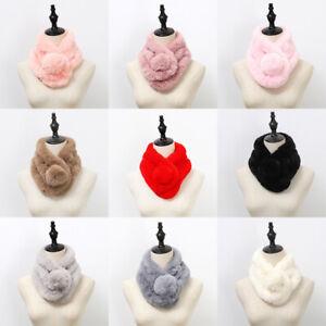 Womens-Christmas-Cute-Scarf-Neck-Warmer-Faux-Rabbit-Fur-Wraps-Collar-Shawl-Stole