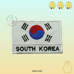 South-Korea-National-Flag-With-Name-Embroidered-Iron-On-Sew-On-Patch-Badge