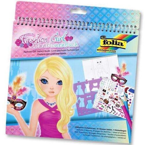 """5 Schablonen 36 Skizzen Seiten Folia Schablonenbuch /"""" Fashion Girl /"""" Sticker"""