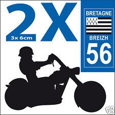 2 stickers autocollants style plaque immatriculation moto Département 56