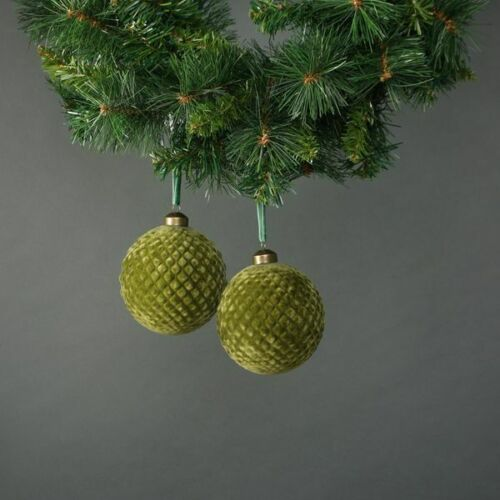 Christmas Neeve 10cm Glass Green Velvet Quilted Bauble Set of 4