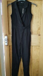 Boohoo-Black-Wrap-Over-Woven-Jumpsuit-Brand-New-Size-8-rrp-25