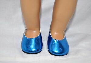 Fits-American-Girl-Doll-Our-Generation-18-034-Dolls-Shoes-Metallic-Blue-Slip-On