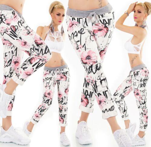 ITALY Damen Hose Sweat Baggy JogPants Freizeithose Blumen Muster weiß 34-38