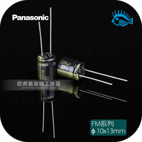 2pcs 330uF 25v FM series Panasonic high frequency low resistance hifi capacitor