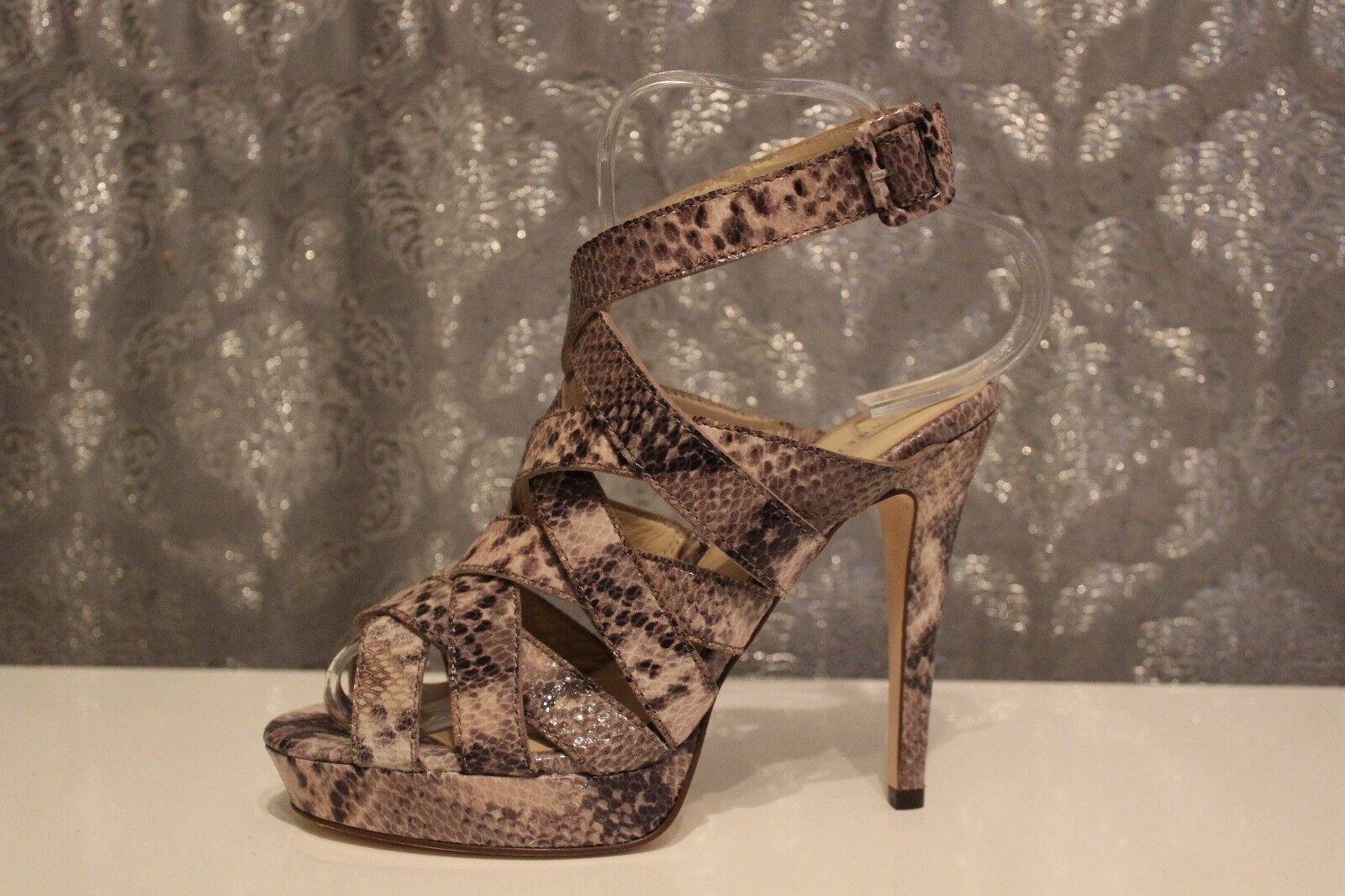 Karen Millen Snake Texture Cross Strappy High Platform Gladiator Sandals UK 4 37