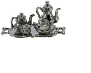 Dollhouse-Miniatures-1-12-Scale-Silver-Antique-Tea-Set-IM65421