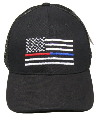 USA Thin Red Blue Line First Responders Mesh Trucker Black Embroidered Cap Hat