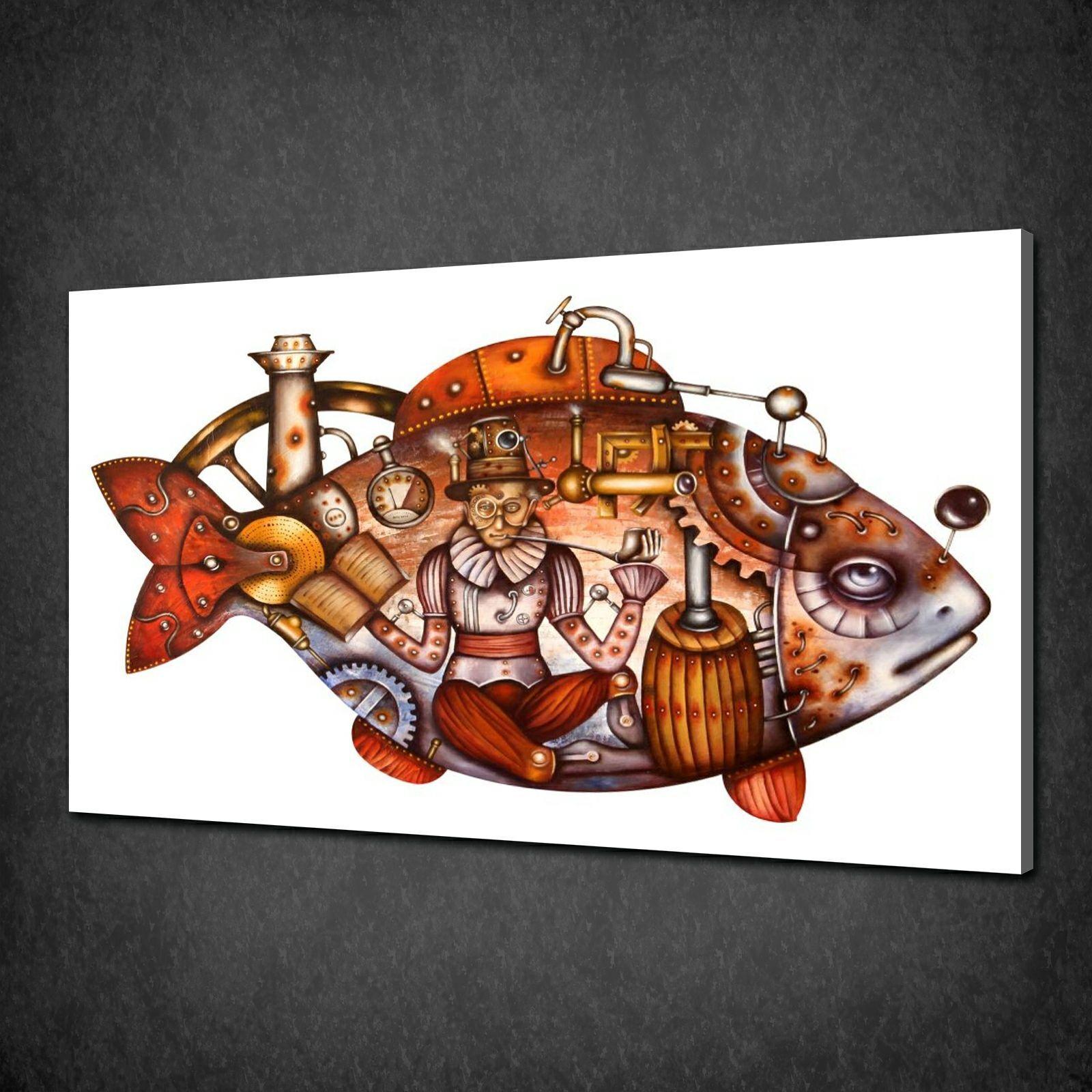 Design Astratto Tela di pesce steampunk stampa Foto Wall Art libero consegna veloce