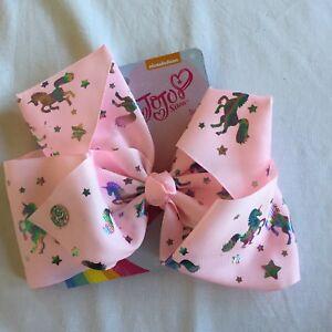 c18f0c8ed44f JoJo Siwa Hair Bow Pastel Pink Metallic Silver Iridescent Unicorn ...