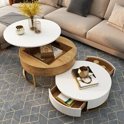 Homary White Natural Wood Lift Top Coffee Table With Storages Rotatable Drawer Ebay