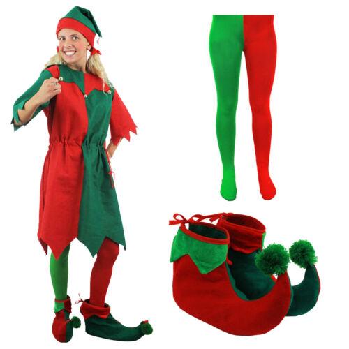 ADULTS ELF COSTUME CHRISTMAS FANCY DRESS MENS LADIES XMAS CHOOSE ACCESSORIES