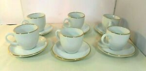 Espresso-Cups-Saucers-Handpainted-White-with-Gold-Trim-Set-of-6-Vintage