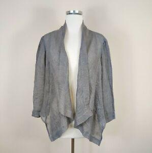 Eileen-Fisher-S-Linen-Jacket-Asymmetric-Open-Front-Striped-Lightweight-Lagenlook
