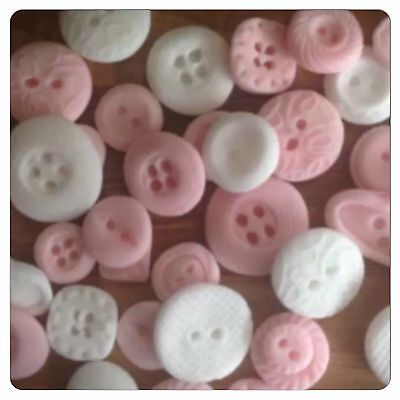 30 Edible Pink White Buttons Baby Shower Cupcake Cake Decorations Toppers Weddin