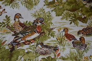 "4 1/3 yd ""Duck Pond"" WAVERLY Vintage cotton fabric in 3 pcs 49"" wide"