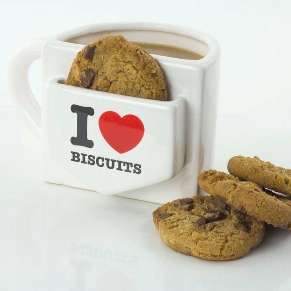 I LOVE BISCUITS MUG with Cookie POCKET Ceramic 500ml Creamy WHITE