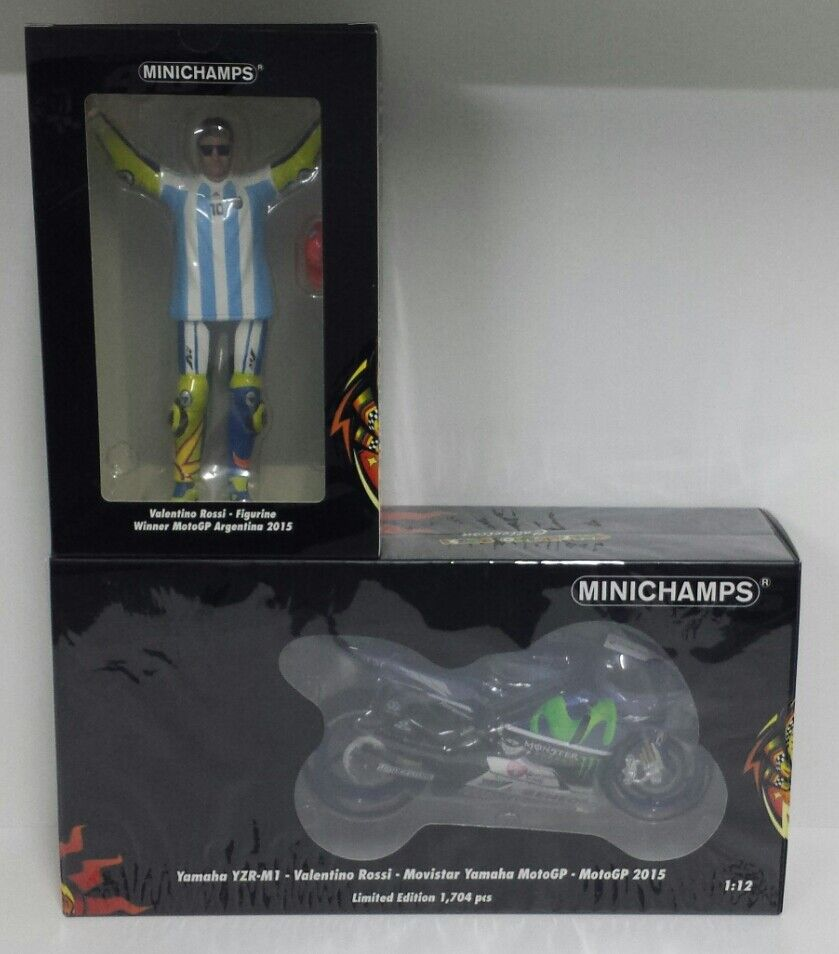 MINICHAMPS VALENTINO ROSSI 1 12 SET MODEL YAMAHA + FIGURE GP silverINA 2015