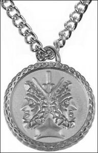 "Janus Pendant on 18/"" Chain Rustic Silverplate Roman Janus Symbol Charm Necklace"