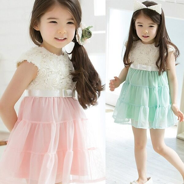 Girls Kids Baby Tutu Dress One Piece Tops Rose Short Sleeve Tulle Skirts 2-10Y