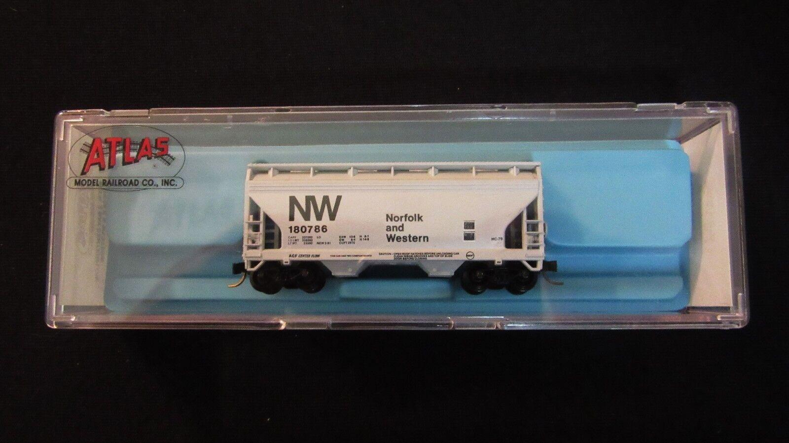 Atlas N-Scale Norfolk & Western-2 Bay Hopper w Micro-Trains Couplers-3907-Mint
