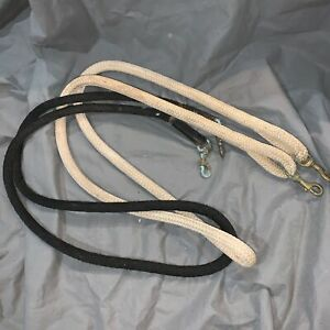 2-Vintage-Horse-Training-Lead-Ropes-Heavy-Duty-Brass-Clips