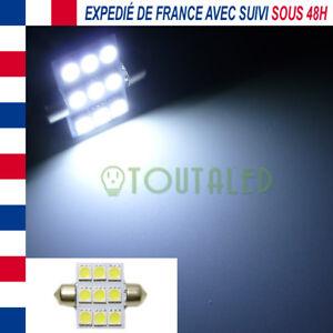 AMPOULE LAMPE NAVETTE C5W 36MM 12V 9 LED 5050 BLANC XENON INTERIEUR PLAFONNIER