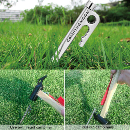 New Heavy Duty Stainless Steel Tent Steel Camping Stake Pegs Ground Nail Hook UK