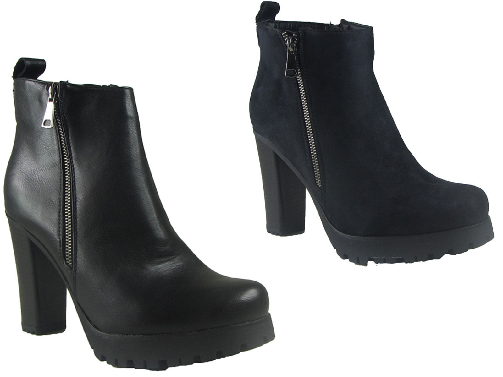 NEW LADIES WOMENS CHUNKY BLOCK HEEL CASUAL OFFICE WORK ANKLE ZIP BOOT SIZE 3-8
