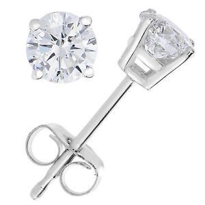 1-4-cttw-Diamond-Stud-Earrings-14K-White-Gold-4-Prong-Basket-Set-With-Push-Backs