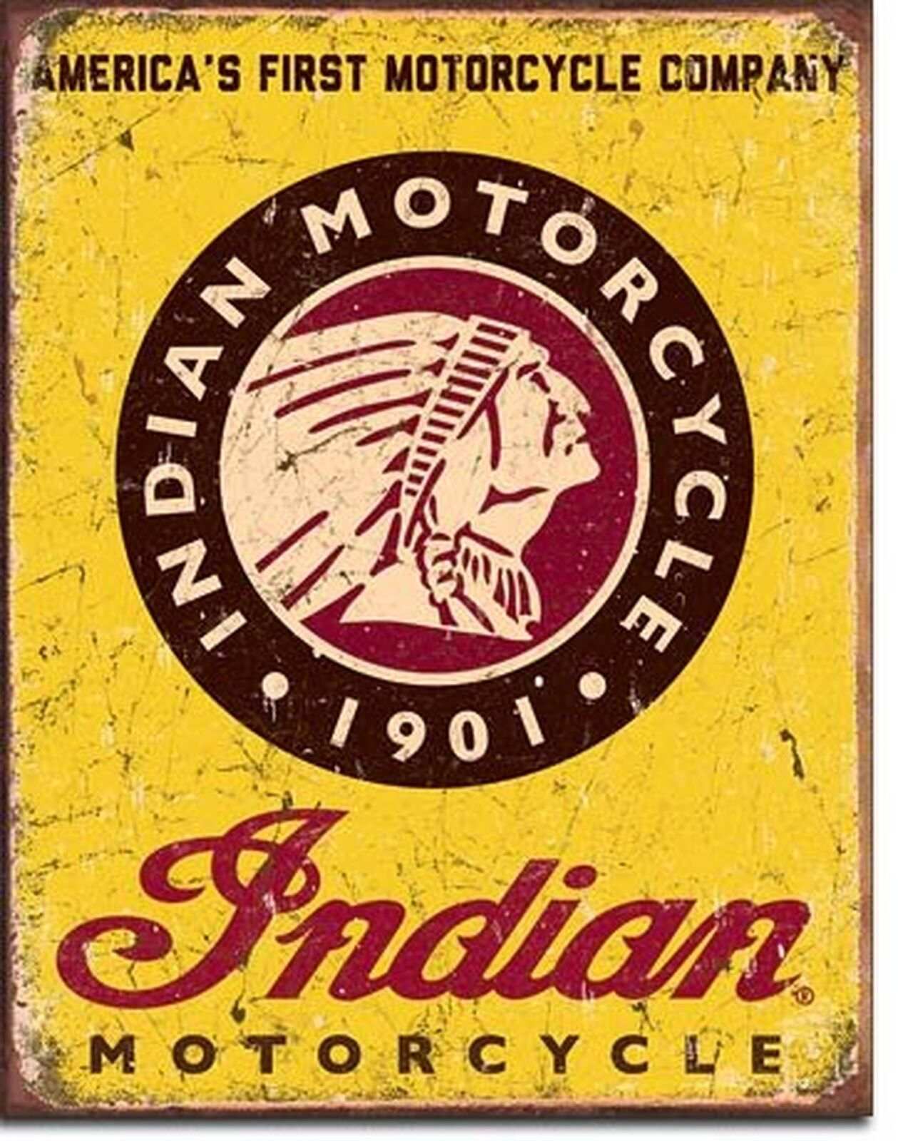 """Authorized Indian Parts and Service Tin Sign 16/"""" W x 12.5/"""" H"""