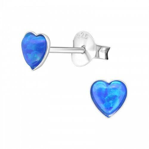 Opal and 925 Sterling silver heart  stud earrings