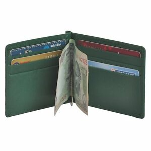 fa74507a75c7 Details about NEW Men's Genuine Saffiano Leather Green Money Clip Wallet  Business Card Holder