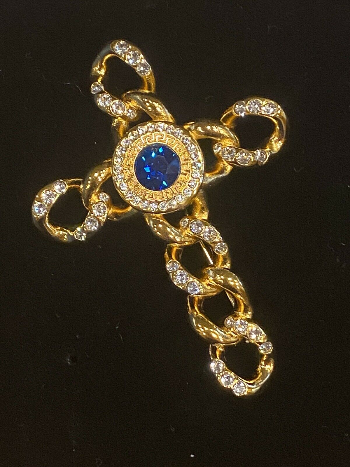 SIGNED VINTAGE GOLD PLATED GIANNI VERSACE CRYSTAL… - image 5