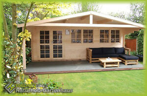 gartenhaus aus holz mit vordach 2 1m blockhaus 6x4m 2 1m 40mm madrid 40011 ebay. Black Bedroom Furniture Sets. Home Design Ideas