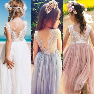 US-Princess-Kids-Baby-Flower-Girl-Dress-Lace-Tulle-Party-Pageant-Formal-Dresses