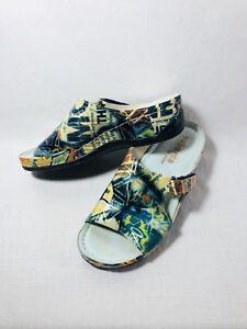 Tabarca-By-Pepa-Multi-Colored-Graffiti-Print-Leather-Slides-Comfort-Shoes-Sz-38