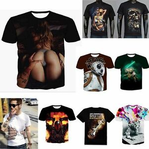Hot-Mens-3d-print-Summer-Short-Sleeve-Casual-Slim-Fit-T-Shirts-Graphic-Tee-Shirt