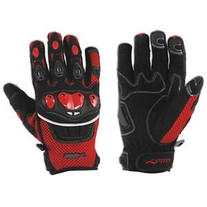 Gloves Textile motorcycle knuckles Protection Summer Racing Biker Cross Red XS