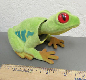 NEW-fuzzy-Green-Tree-Frog-Bobble-head-6-inches-long-very-nice-collectible