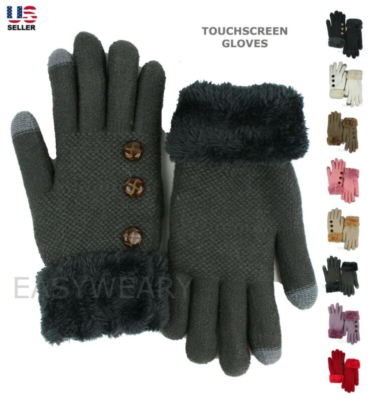 Womens Winter Warm Thermal Knit Thick Fleece Lined Touchscreen Gloves Mittens Suitable For Men And Women Of All Ages In All Seasons