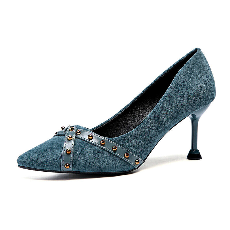 shoes decolte eleganti stiletto 7.5 cm blue green comodi simil pelle 1163
