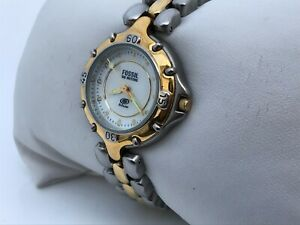 Fossil Blue Ladies Watch Gold Silver Tone Water Resistant 50M Analog Wrist Watch