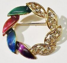 broche rétro couronne cristaux diamant émail couleur vernis couleur or * 3940
