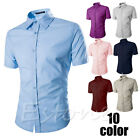 Men's Slim Fit Sexy Button Down Formal Casual Polo Shirts T-Shirt Short Sleeve