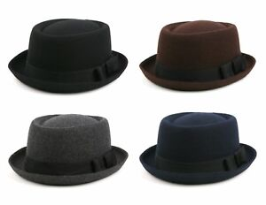 848eced685606 Image is loading Unisex-Wool-Felt-Pork-Pie-Fedora-Hat-509HF-