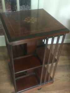 Antique Furniture Antique Mahogany Inlaid Revolving Bookcase Bookcases