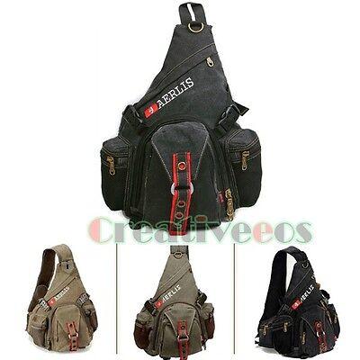 Men's Canvas Travel Hiking Messenger Shoulder Backpack High Capacity Chest Bag