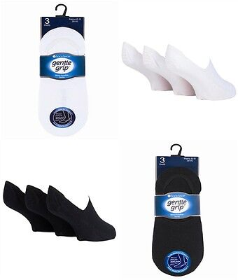 6 Pairs  Gentle Grip Invisible Socks with Silicone Heel Grip 6-11 UK 39-45 Eur